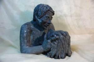 """""""Amanti"""" , scultura in ceramica"""