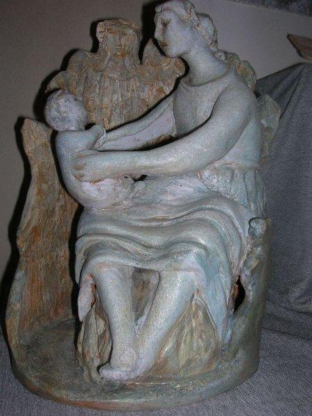 Scultura in ceramica esposta a Denice alla mostra Torre e sogno del presepe 2011