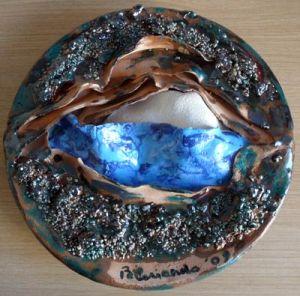 """""""Terra, mare, cielo"""", piatto in ceramica"""